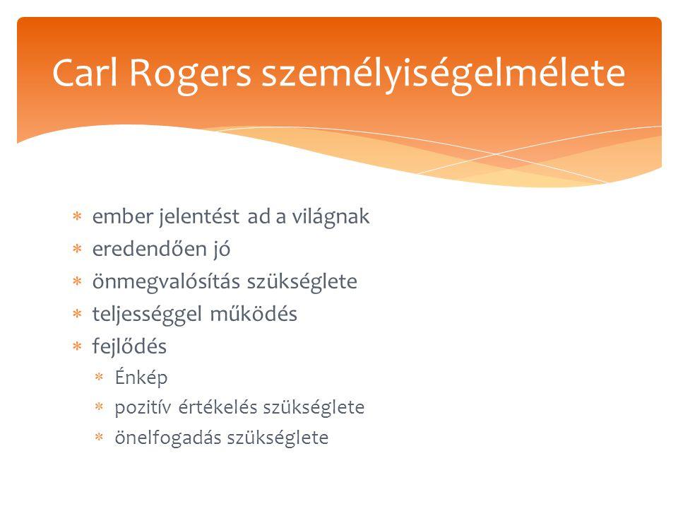  ember jelentést ad a világnak  eredendően jó  önmegvalósítás szükséglete  teljességgel működés  fejlődés  Énkép  pozitív értékelés szükséglete  önelfogadás szükséglete Carl Rogers személyiségelmélete
