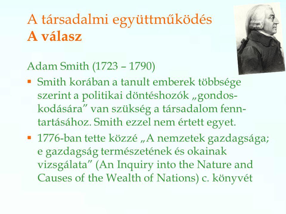 """Adam Smith (1723 – 1790)  Smith korában a tanult emberek többsége szerint a politikai döntéshozók """"gondos- kodására van szükség a társadalom fenn- tartásához."""