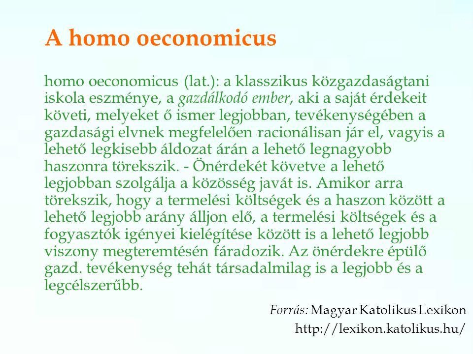 A homo oeconomicus homo oeconomicus (lat.): a klasszikus közgazdaságtani iskola eszménye, a gazdálkodó ember, aki a saját érdekeit követi, melyeket ő ismer legjobban, tevékenységében a gazdasági elvnek megfelelően racionálisan jár el, vagyis a lehető legkisebb áldozat árán a lehető legnagyobb haszonra törekszik.