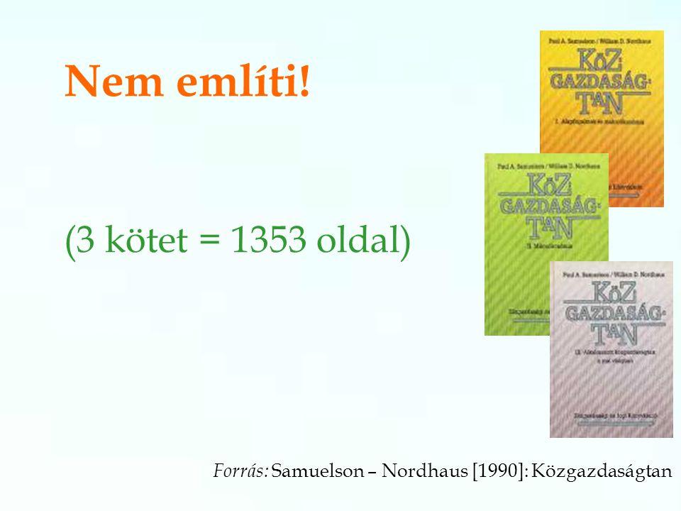 Forrás: Samuelson – Nordhaus [1990]: Közgazdaságtan Nem említi! (3 kötet = 1353 oldal)