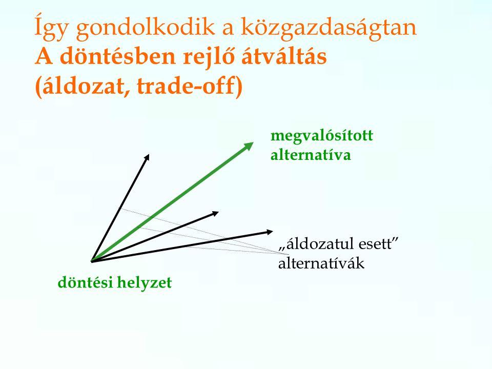 """megvalósított alternatíva """"áldozatul esett alternatívák döntési helyzet Így gondolkodik a közgazdaságtan A döntésben rejlő átváltás (áldozat, trade-off)"""