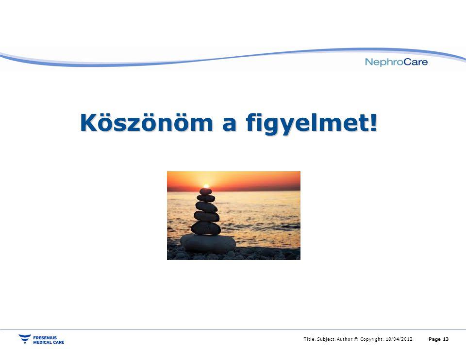 Title, Subject, Author © Copyright, 18/04/2012Page 13 Köszönöm a figyelmet!