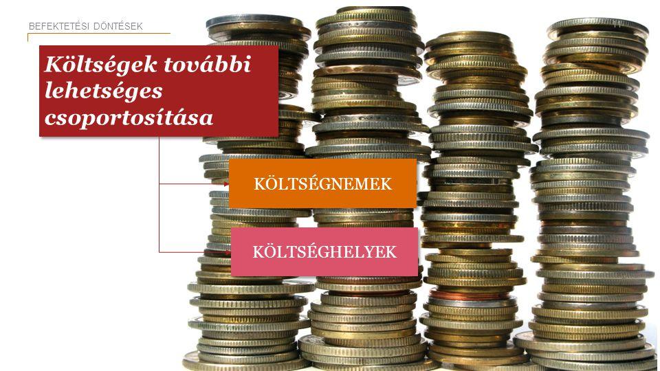 KÖLTSÉGNEMEK KÖLTSÉGHELYEK BEFEKTETÉSI DÖNTÉSEK 11 Költségek további lehetséges csoportosítása