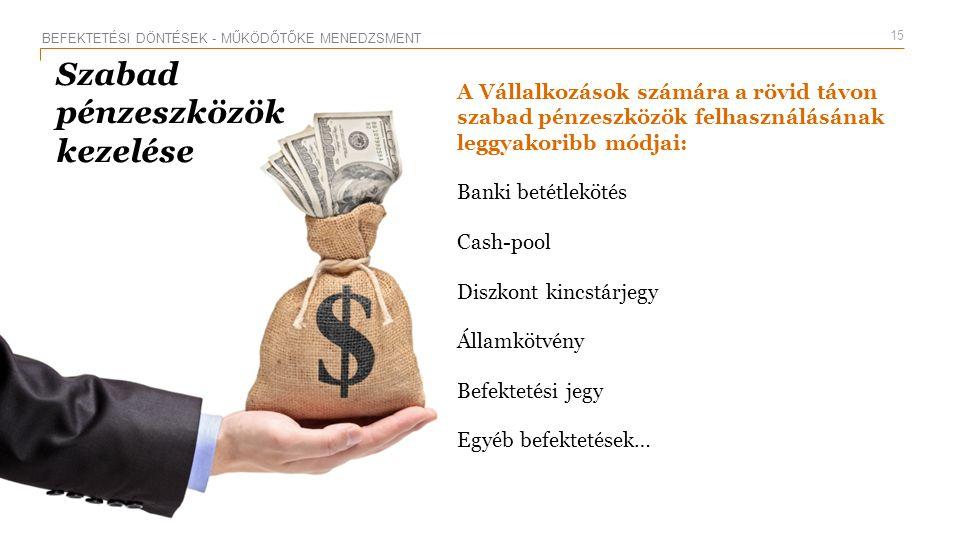 PwC Szabad pénzeszközök kezelése A Vállalkozások számára a rövid távon szabad pénzeszközök felhasználásának leggyakoribb módjai: Banki betétlekötés Ca