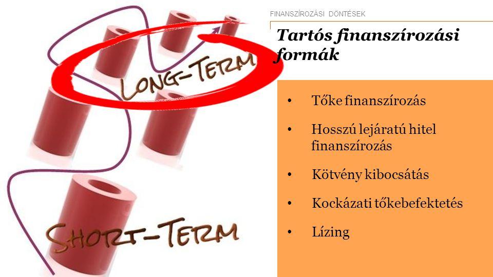 Tőke finanszírozás Hosszú lejáratú hitel finanszírozás Kötvény kibocsátás Kockázati tőkebefektetés Lízing FINANSZÍROZÁSI DÖNTÉSEK Tartós finanszírozás