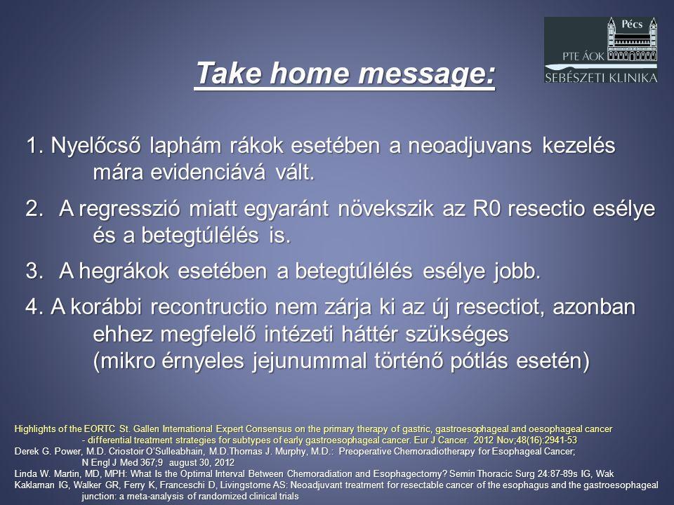 Take home message: 1.Nyelőcső laphám rákok esetében a neoadjuvans kezelés mára evidenciává vált. 2.A regresszió miatt egyaránt növekszik az R0 resecti