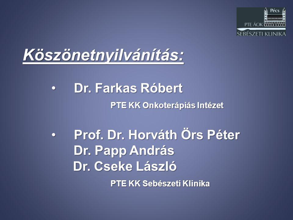 Köszönetnyilvánítás: Dr. Farkas Róbert Dr. Farkas Róbert PTE KK Onkoterápiás Intézet Prof. Dr. Horváth Örs Péter Prof. Dr. Horváth Örs Péter Dr. Papp