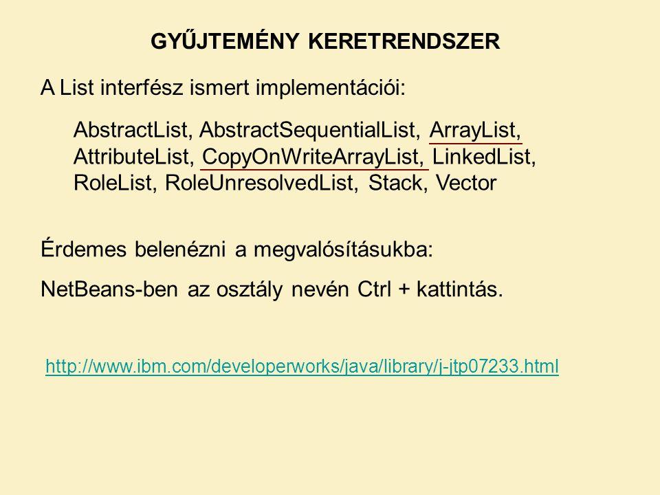 AbstractList, AbstractSequentialList, ArrayList, AttributeList, CopyOnWriteArrayList, LinkedList, RoleList, RoleUnresolvedList, Stack, Vector A List interfész ismert implementációi: GYŰJTEMÉNY KERETRENDSZER Érdemes belenézni a megvalósításukba: NetBeans-ben az osztály nevén Ctrl + kattintás.