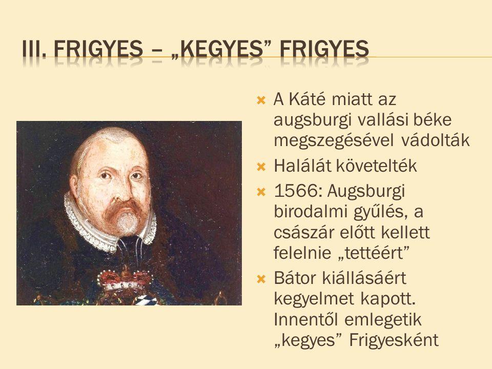  A Káté miatt az augsburgi vallási béke megszegésével vádolták  Halálát követelték  1566: Augsburgi birodalmi gyűlés, a császár előtt kellett felel