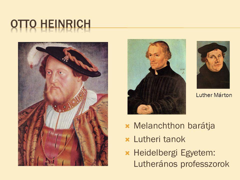  Melanchthon barátja  Lutheri tanok  Heidelbergi Egyetem: Lutherános professzorok Luther Márton