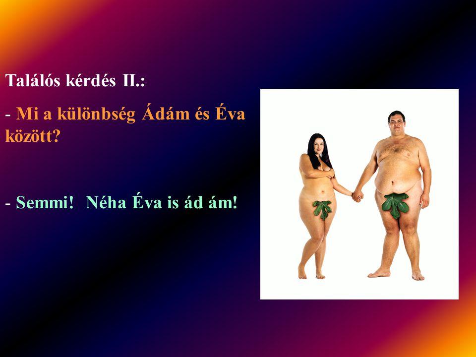 Találós kérdés I.: - Mi a különbség Ádám és Éva között? - Semmi! Ami kis különbség van, az egybeillik!