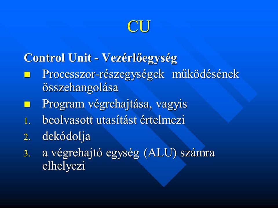 CU Control Unit - Vezérlőegység Processzor-részegységek működésének összehangolása Processzor-részegységek működésének összehangolása Program végrehaj