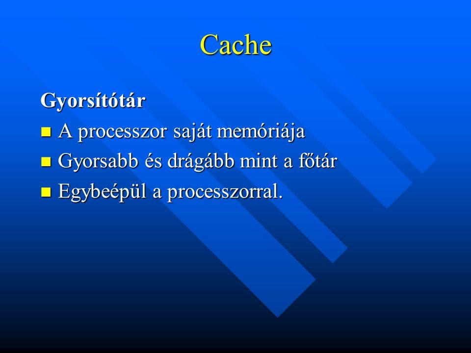 Cache Gyorsítótár A processzor saját memóriája A processzor saját memóriája Gyorsabb és drágább mint a főtár Gyorsabb és drágább mint a főtár Egybeépü