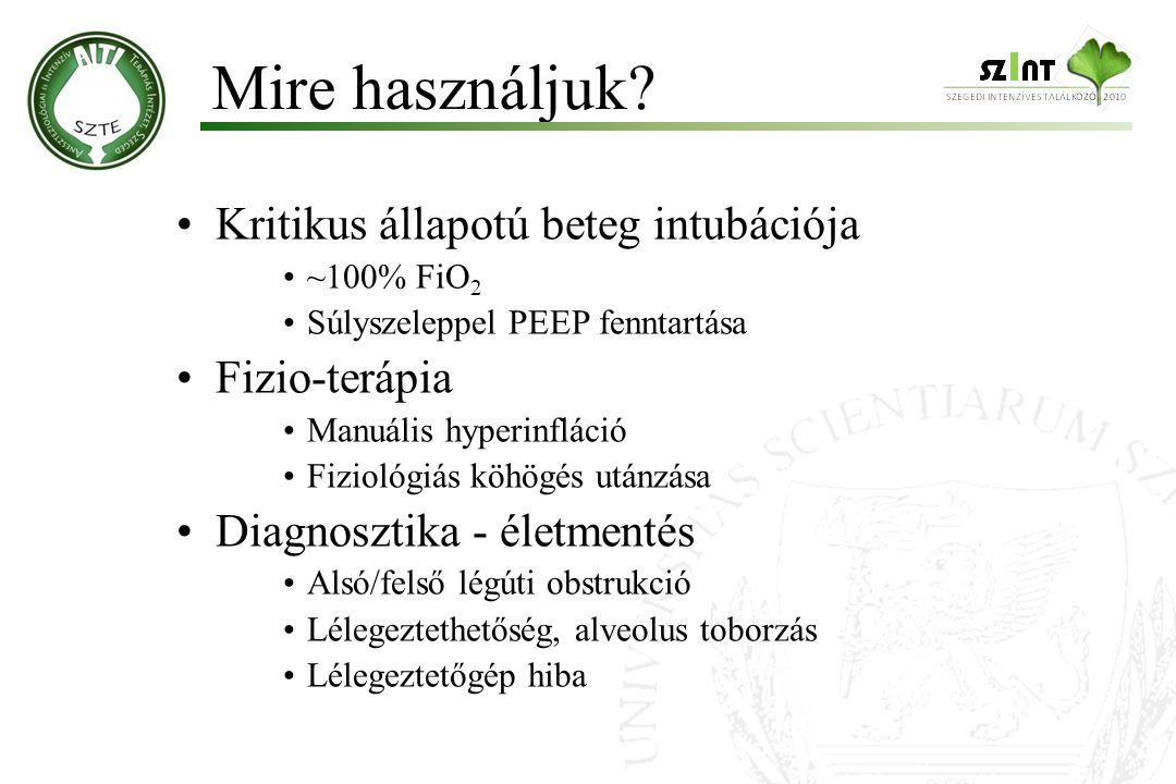 Kritikus állapotú beteg intubációja ~100% FiO 2 Súlyszeleppel PEEP fenntartása Fizio-terápia Manuális hyperinfláció Fiziológiás köhögés utánzása Diagn