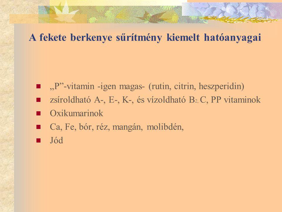 """A fekete berkenye sűrítmény kiemelt hatóanyagai """"P -vitamin -igen magas- (rutin, citrin, heszperidin) zsíroldható A-, E-, K-, és vízoldható B 2, C, PP vitaminok Oxikumarinok Ca, Fe, bór, réz, mangán, molibdén, Jód"""