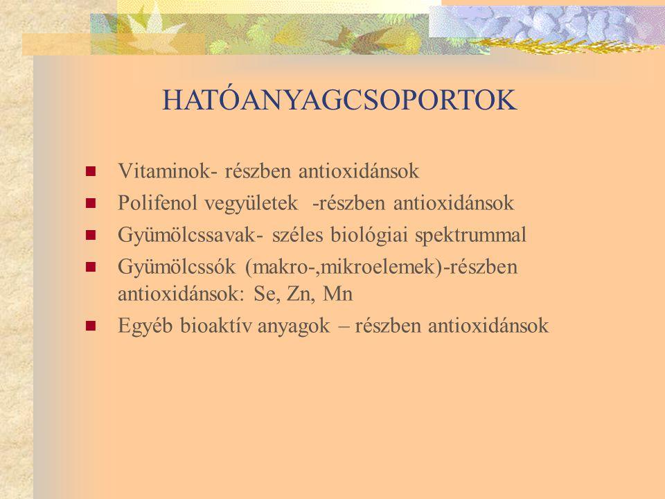 Vitaminok- részben antioxidánsok Polifenol vegyületek -részben antioxidánsok Gyümölcssavak- széles biológiai spektrummal Gyümölcssók (makro-,mikroelemek)-részben antioxidánsok: Se, Zn, Mn Egyéb bioaktív anyagok – részben antioxidánsok HATÓANYAGCSOPORTOK