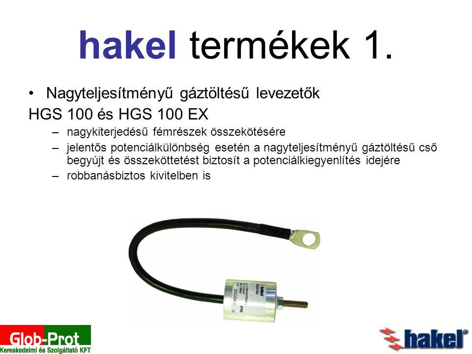 Nagyteljesítményű gáztöltésű levezetők HGS 100 és HGS 100 EX –nagykiterjedésű fémrészek összekötésére –jelentős potenciálkülönbség esetén a nagyteljes