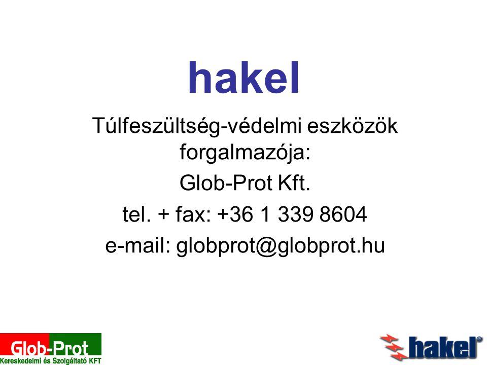 hakel Túlfeszültség-védelmi eszközök forgalmazója: Glob-Prot Kft. tel. + fax: +36 1 339 8604 e-mail: globprot@globprot.hu