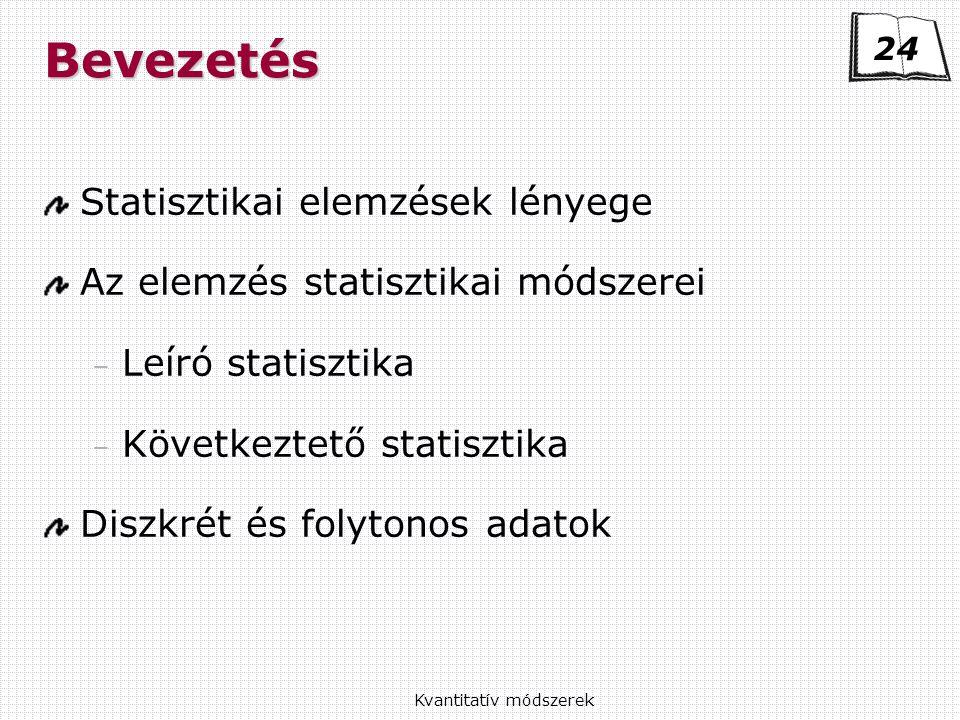 Kvantitatív módszerekBevezetés Statisztikai elemzések lényege Az elemzés statisztikai módszerei – Leíró statisztika – Következtető statisztika Diszkrét és folytonos adatok 24