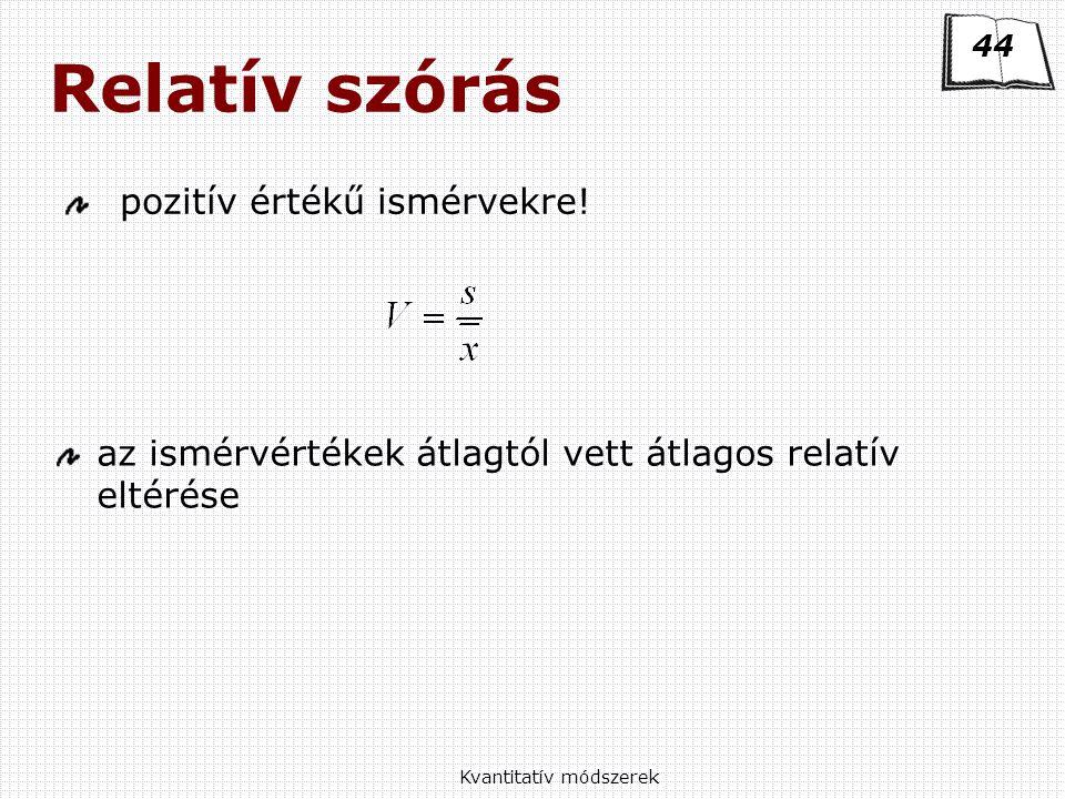 Kvantitatív módszerek Relatív szórás pozitív értékű ismérvekre.