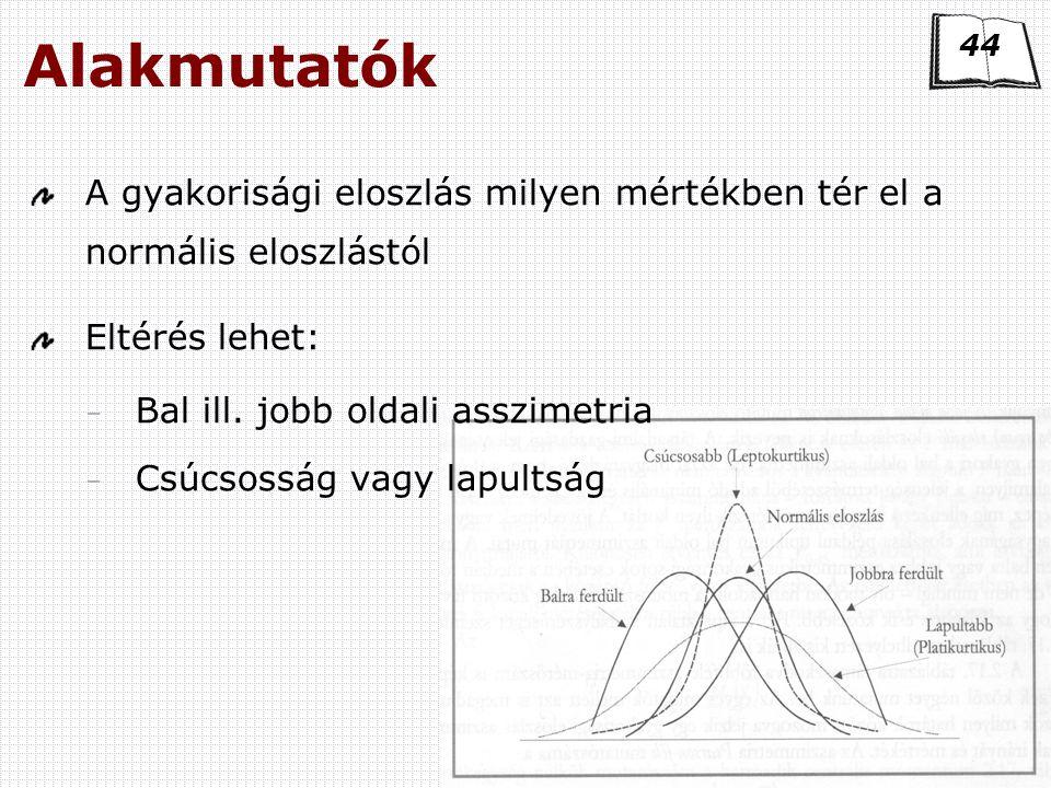 Kvantitatív módszerek Alakmutatók A gyakorisági eloszlás milyen mértékben tér el a normális eloszlástól Eltérés lehet: – Bal ill.