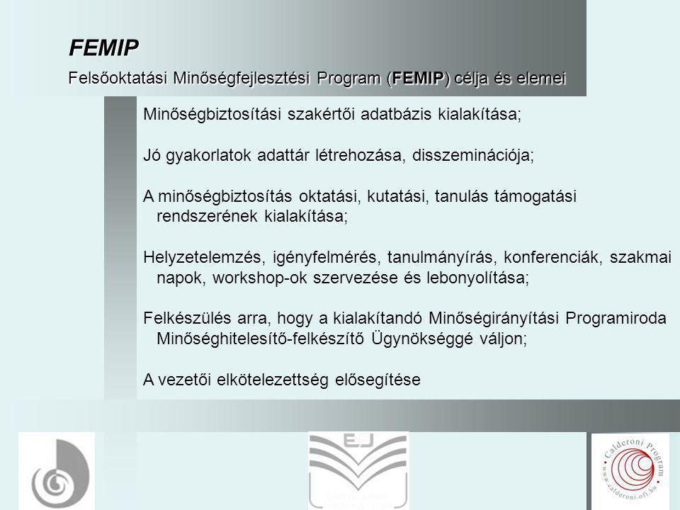 10 FEMIP Felsőoktatási Minőségfejlesztési Program (FEMIP) célja és elemei Minőségbiztosítási szakértői adatbázis kialakítása; Jó gyakorlatok adattár létrehozása, disszeminációja; A minőségbiztosítás oktatási, kutatási, tanulás támogatási rendszerének kialakítása; Helyzetelemzés, igényfelmérés, tanulmányírás, konferenciák, szakmai napok, workshop-ok szervezése és lebonyolítása; Felkészülés arra, hogy a kialakítandó Minőségirányítási Programiroda Minőséghitelesítő-felkészítő Ügynökséggé váljon; A vezetői elkötelezettség elősegítése