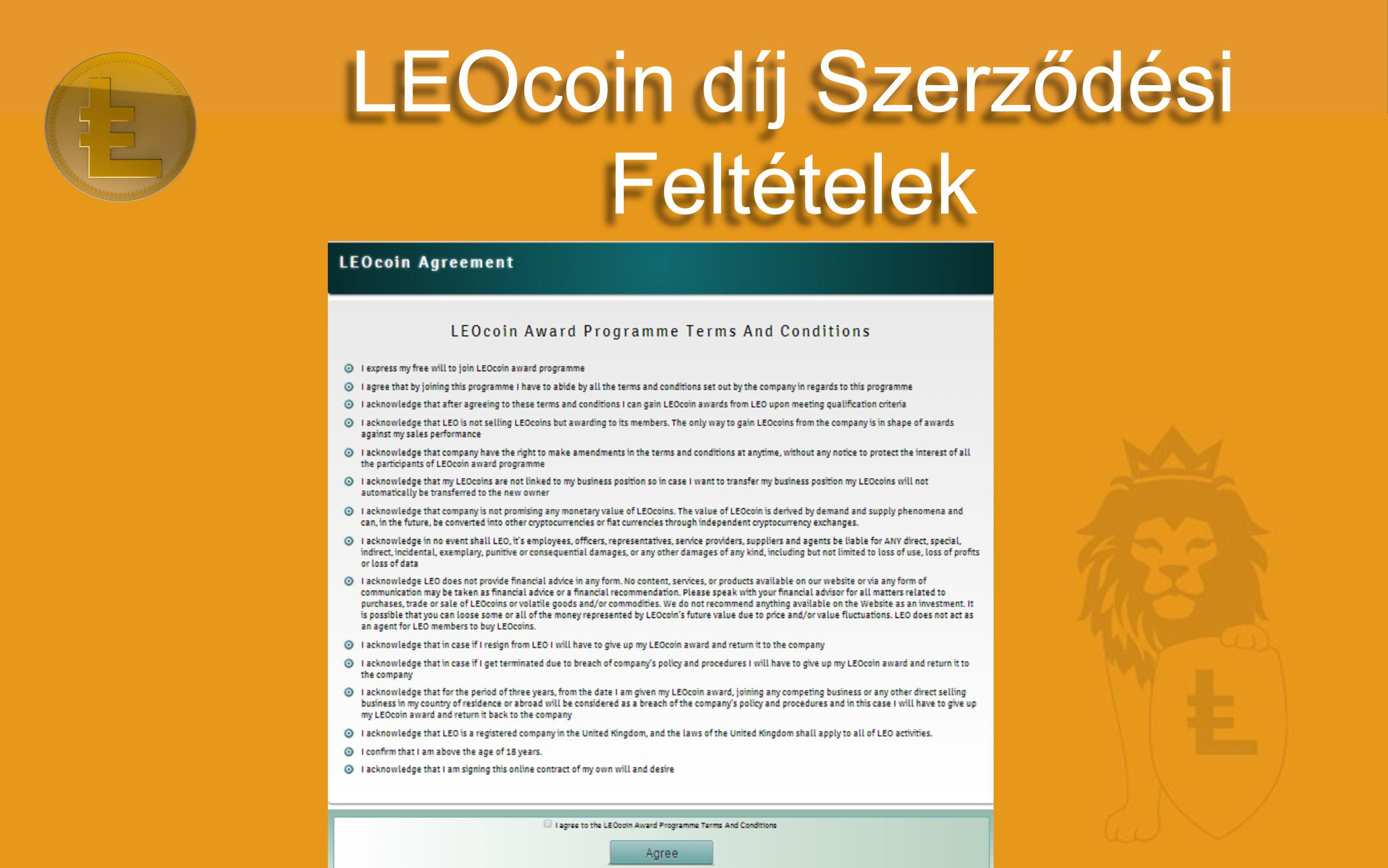 LEOcoin díj Szerződési Feltételek
