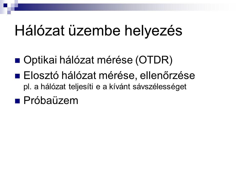 Hálózat üzembe helyezés Optikai hálózat mérése (OTDR) Elosztó hálózat mérése, ellenőrzése pl.