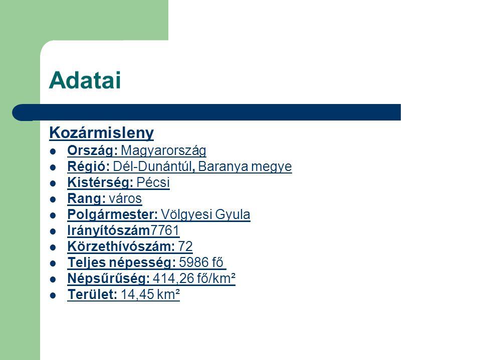 Adatai Kozármisleny Ország: MagyarországMagyarország Régió: Dél-Dunántúl, Baranya megye RégióDél-DunántúlBaranya Kistérség: Pécsi KistérségPécsi Rang:
