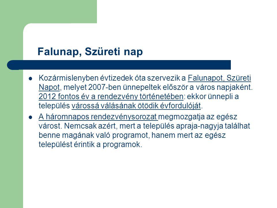 Kozármislenyben évtizedek óta szervezik a Falunapot, Szüreti Napot, melyet 2007-ben ünnepeltek először a város napjaként. 2012 fontos év a rendezvény