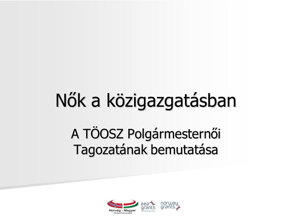Nők a közigazgatásban A TÖOSZ Polgármesternői Tagozatának bemutatása