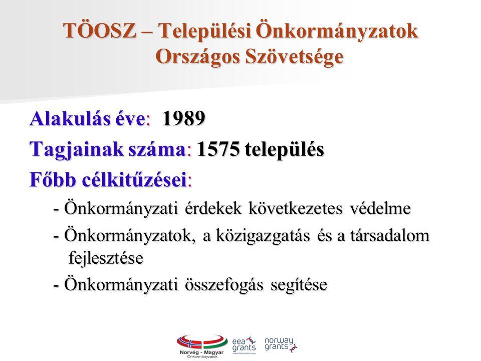 TÖOSZ – Települési Önkormányzatok Országos Szövetsége Alakulás éve: 1989 Tagjainak száma: 1575 település Főbb célkitűzései: - Önkormányzati érdekek következetes védelme - Önkormányzatok, a közigazgatás és a társadalom fejlesztése - Önkormányzati összefogás segítése