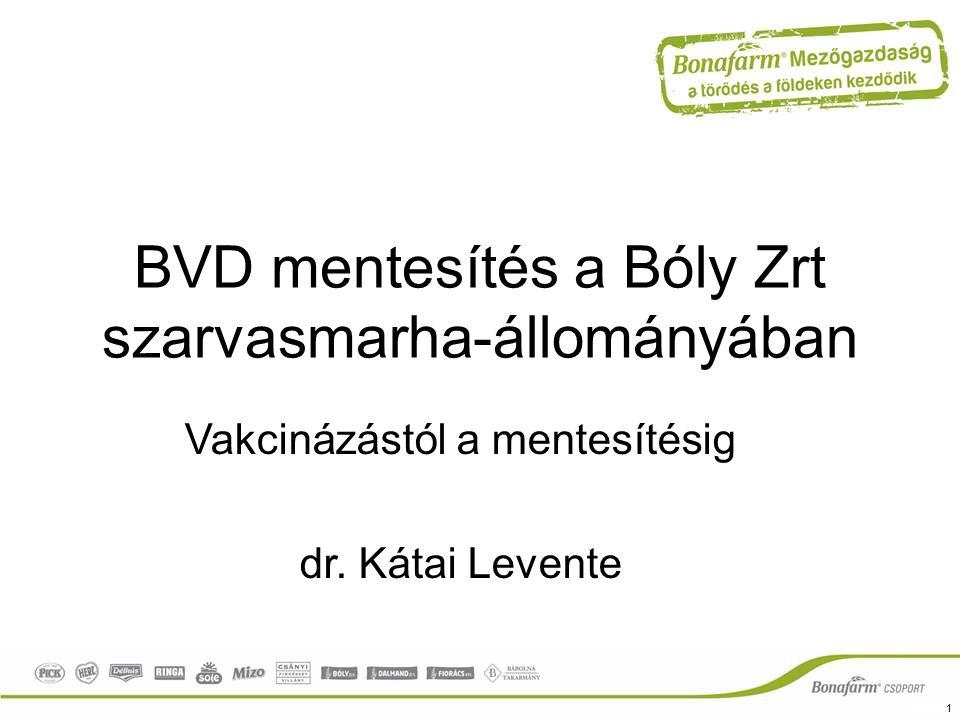BVD mentesítés a Bóly Zrt szarvasmarha-állományában Vakcinázástól a mentesítésig dr. Kátai Levente