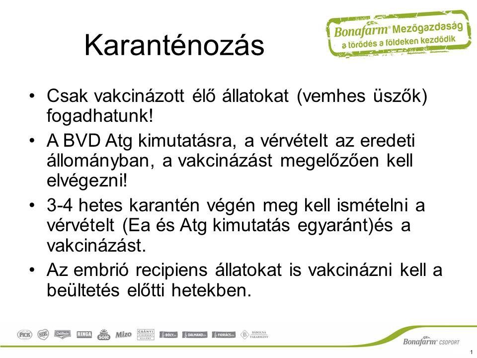 Karanténozás Csak vakcinázott élő állatokat (vemhes üszők) fogadhatunk! A BVD Atg kimutatásra, a vérvételt az eredeti állományban, a vakcinázást megel