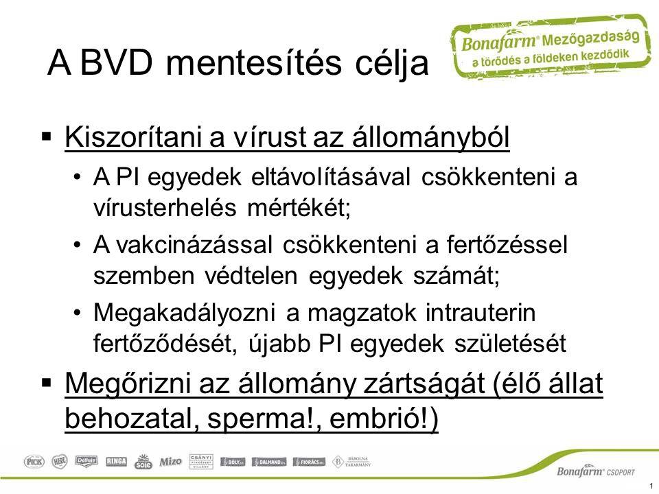 A BVD mentesítés célja  Kiszorítani a vírust az állományból A PI egyedek eltávolításával csökkenteni a vírusterhelés mértékét; A vakcinázással csökke