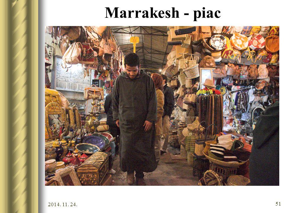 2014. 11. 24. 50 Volubilis A legnagyobb római romváros Marokkóban (Meknés közelében). A 18. századig lakott hely romjai megtekinthetők. Marrakesh Kult