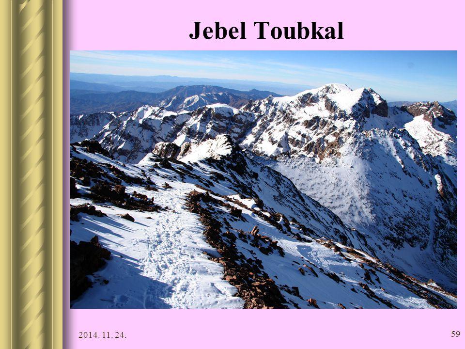 2014. 11. 24. 58 Jebel Toubkal Az ország legmagasabb pontja (4165 m). A hegyre vezető kétnapos túra kedvelt a turisták körében. Todra-hasadék A Magas-