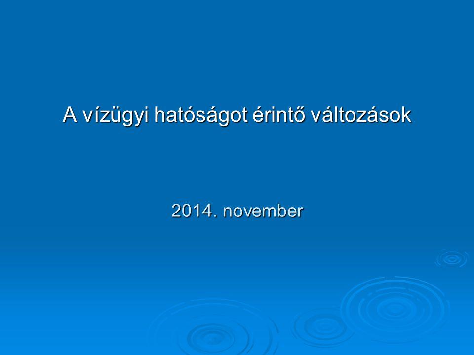 Vízvédelemmel kapcsolatos rendelkezések IV.Vízvédelmi hatóság kijelölése: 2014.09.10.