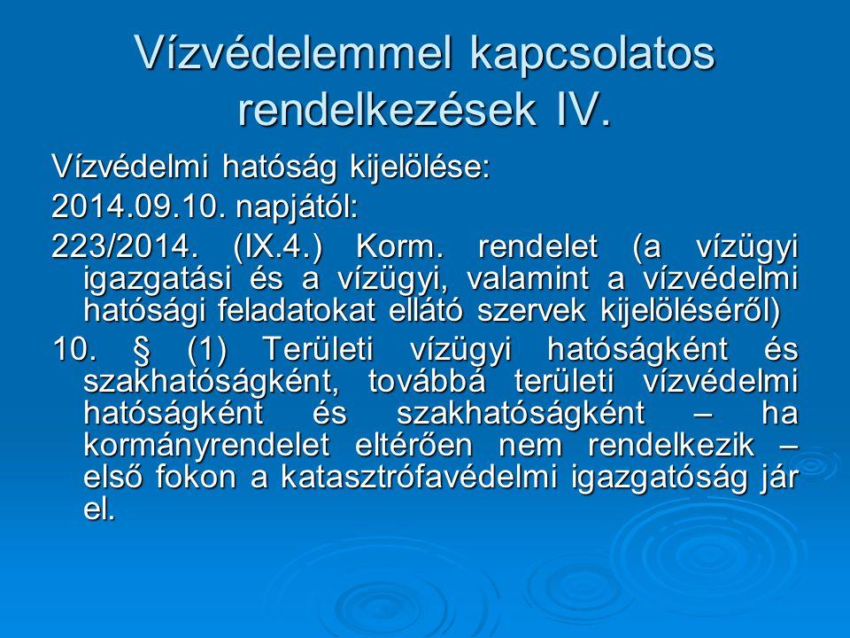 Vízvédelemmel kapcsolatos rendelkezések IV. Vízvédelmi hatóság kijelölése: 2014.09.10. napjától: 223/2014. (IX.4.) Korm. rendelet (a vízügyi igazgatás