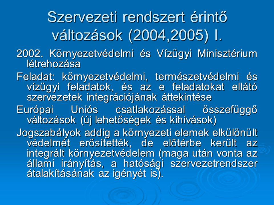 Szervezeti rendszert érintő változások (2004,2005) I. 2002. Környezetvédelmi és Vízügyi Minisztérium létrehozása Feladat: környezetvédelmi, természetv