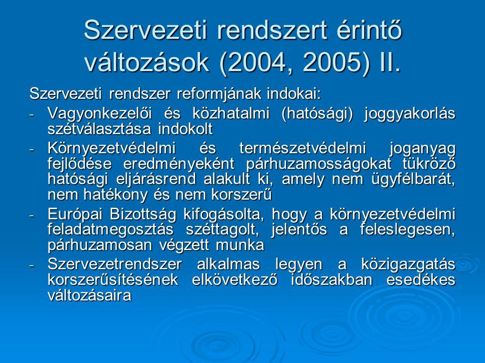 Szervezeti rendszert érintő változások (2004, 2005) II. Szervezeti rendszer reformjának indokai: - Vagyonkezelői és közhatalmi (hatósági) joggyakorlás