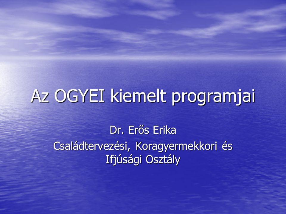 Az OGYEI kiemelt programjai Dr. Erős Erika Családtervezési, Koragyermekkori és Ifjúsági Osztály