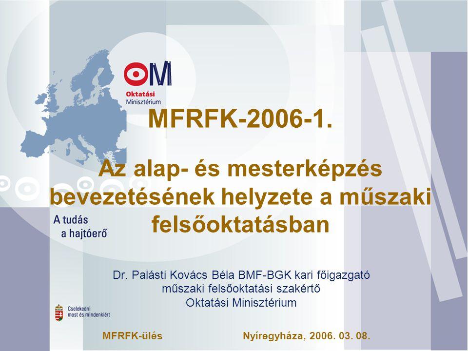 MFRFK-2006-1.Az alap- és mesterképzés bevezetésének helyzete a műszaki felsőoktatásban Dr.