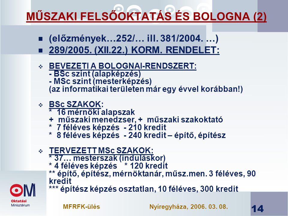 14 MŰSZAKI FELSŐOKTATÁS ÉS BOLOGNA (2) n (előzmények…252/… ill.