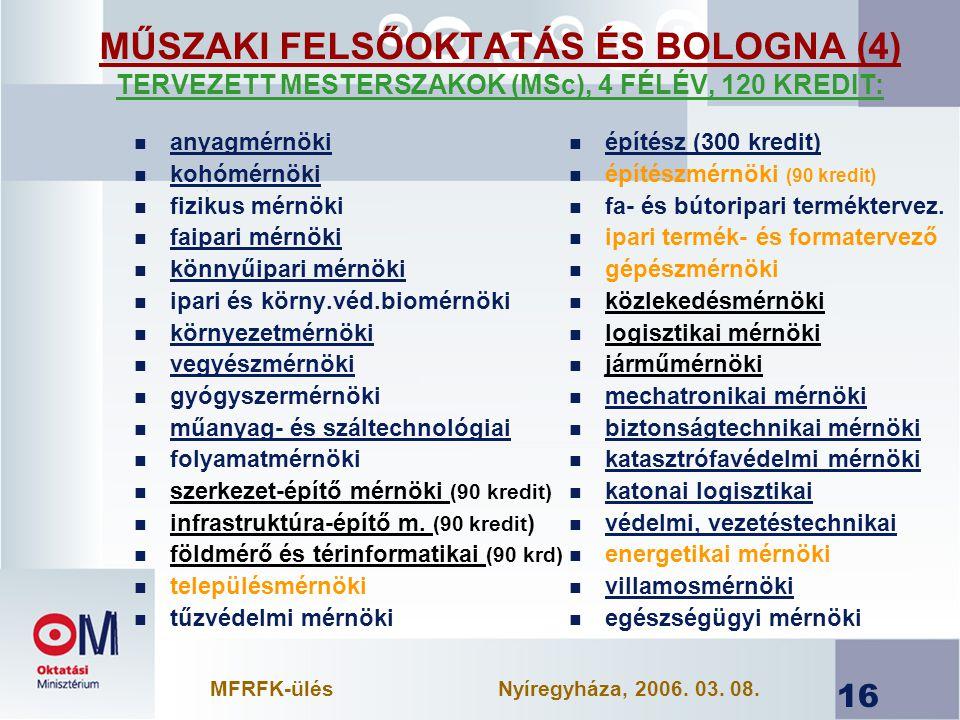 16 MŰSZAKI FELSŐOKTATÁS ÉS BOLOGNA (4) TERVEZETT MESTERSZAKOK (MSc), 4 FÉLÉV, 120 KREDIT: n anyagmérnöki n kohómérnöki n fizikus mérnöki n faipari mérnöki n könnyűipari mérnöki n ipari és körny.véd.biomérnöki n környezetmérnöki n vegyészmérnöki n gyógyszermérnöki n műanyag- és száltechnológiai n folyamatmérnöki n szerkezet-építő mérnöki (90 kredit) n infrastruktúra-építő m.