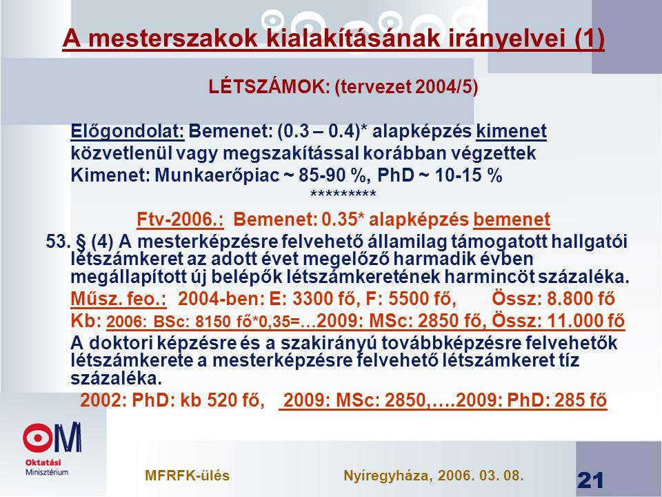 21 A mesterszakok kialakításának irányelvei (1) LÉTSZÁMOK: (tervezet 2004/5) Előgondolat: Bemenet: (0.3 – 0.4)* alapképzés kimenet közvetlenül vagy megszakítással korábban végzettek Kimenet: Munkaerőpiac ~ 85-90 %, PhD ~ 10-15 % ********* Ftv-2006.: Bemenet: 0.35* alapképzés bemenet 53.