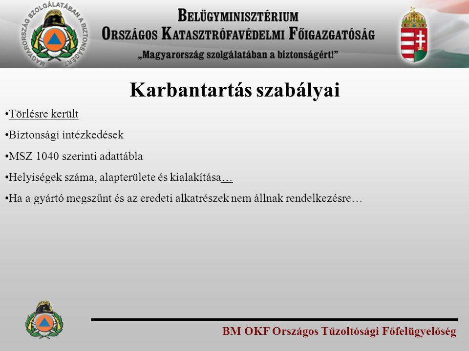 BM OKF Országos Tűzoltósági Főfelügyelőség Karbantartás szabályai Törlésre került Biztonsági intézkedések MSZ 1040 szerinti adattábla Helyiségek száma