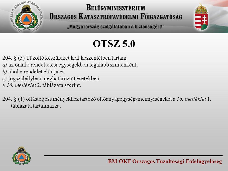 BM OKF Országos Tűzoltósági Főfelügyelőség OTSZ 5.0 204. § (3) Tűzoltó készüléket kell készenlétben tartani a) az önálló rendeltetési egységekben lega