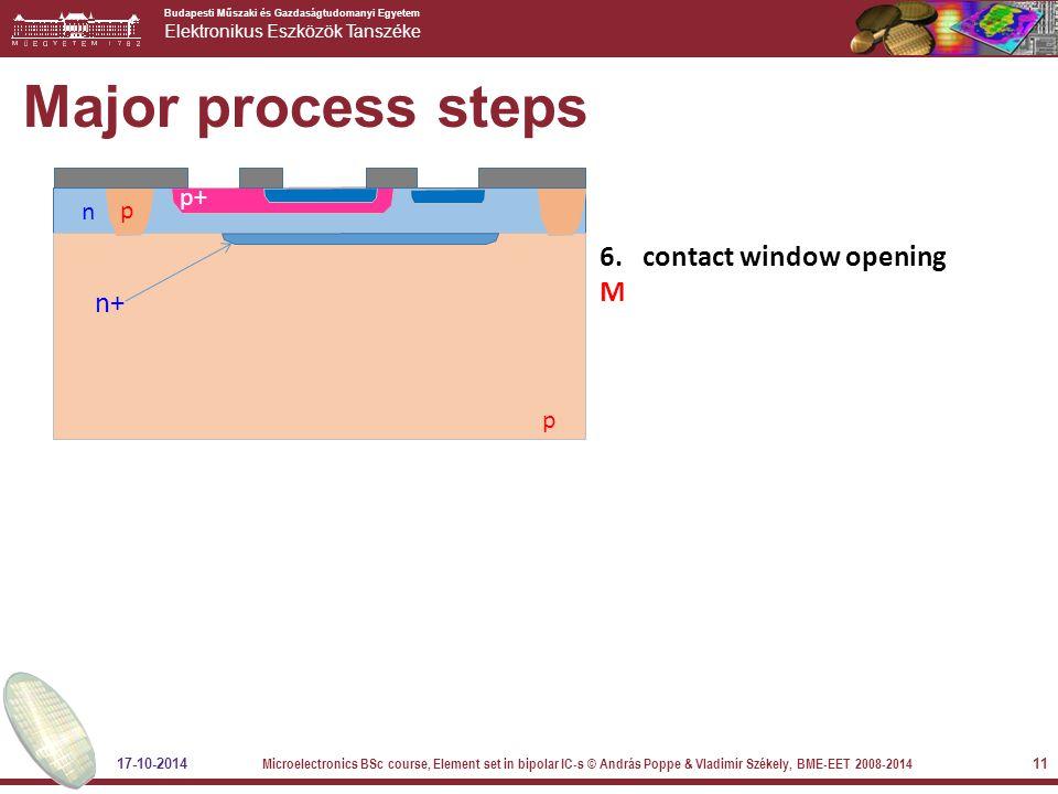 Budapesti Műszaki és Gazdaságtudomanyi Egyetem Elektronikus Eszközök Tanszéke Major process steps 6. contact window opening M n p p p+ n+ 17-10-2014 M