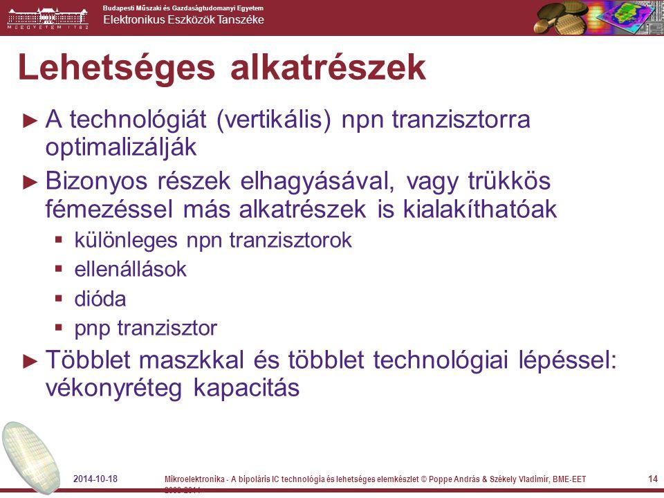 Budapesti Műszaki és Gazdaságtudomanyi Egyetem Elektronikus Eszközök Tanszéke Lehetséges alkatrészek ► A technológiát (vertikális) npn tranzisztorra o